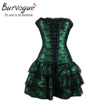 Burvogue Corset Sexy Steampunk Corset Dress Clothing Gothic Corset for Women Slimming Overbust Steampunk Corset Dress Plus S-3XL