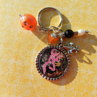 Buck Camo Bottlecap Key chain - Orange Beads