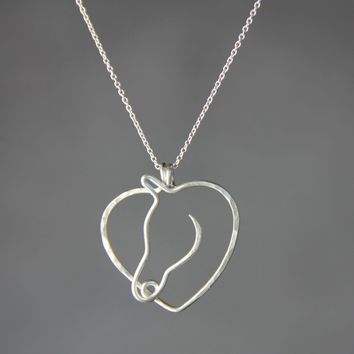 Sterling silver heart horse pendant Kentucky Derby necklace Free US Shipping handmade Anni Designss