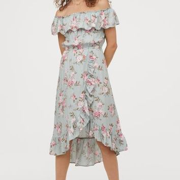 Off-the-shoulder Dress - Light turquoise/floral - | H&M US
