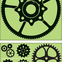 Inkadinkado - Background Clings Collection - Rubber Stamps - Large - Gear Kit