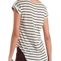 Back Button-Up Tee with Stripes by Charlotte Russe