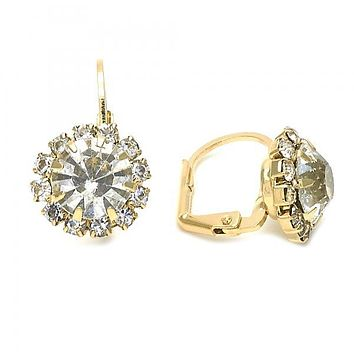 Gold Layered Leverback Earring, Flower Design, with Cubic Zirconia, Golden Tone