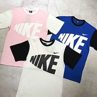 "Hot Sale ""Nike"" Summer Fashion Women Men Casual Logo Print Contrast Color Short Sleeve Round Collar T-Shirt Pullover Top(3-Color) I-AG-CLWM"