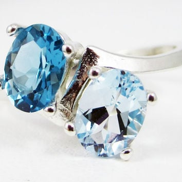 Aquamarine and London Blue Topaz Oval Ring, 925 Sterling Silver, March Birthstone Ring, Two Stone Oval Ring, London Blue Topaz Ring
