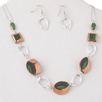 Copper Green and Silver Glass & Metal Necklace and Earrings Jewelry Set