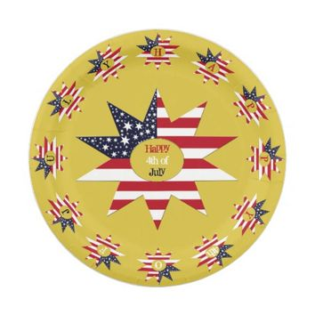 Red White Blue Star Paper Plate