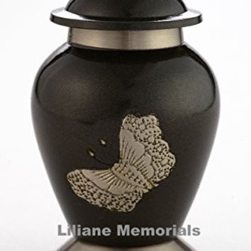 Funeral Urn by Liliane - Cremation Urn for Human Ashes - Hand Made in Brass and Hand Engraved - Fits a Small Amount of Cremated Remains - Display Burial Urn at Home or in Niche at Columbarium (Papillon in Pewter Finish) (Pewter, Keepsake)