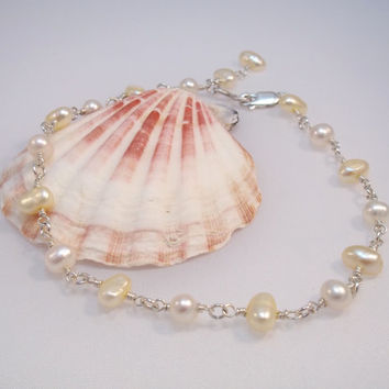 Pearl Anklet, 925 Sterling Silver, White and Cream Freshwater Pearl, Wire Wrapped, June Birthstone, Wedding Jewelry