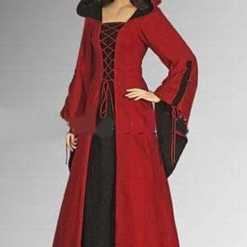 Red and Black Cotton Medieval Renaissance Maiden Dress Gown with Hood Cosplay Larger Sizes