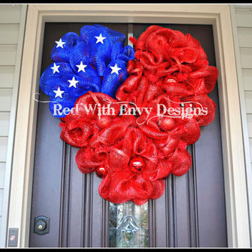 Fourth of July Wreath, Heart Wreath, 4th of July Wreath, Patriotic Wreath, Memorial Wreath, Star Wreath, Fourth of July Wreath, Wreath