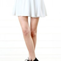 White Solid Scuba Skater Skirt | MakeMeChic.com
