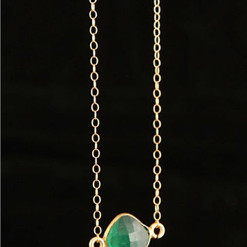 Green Chalcedony Necklace, Gold Necklace, Green Stone, Stone jewelry, Stone Necklace, Chalcedony, May Birthstone, Gift for Her, Necklace,
