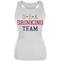 4th of July USA Drinking Team White Juniors Soft Tank Top