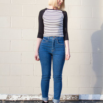 vintage high waisted skinny jeans women / 90s straight leg tight jeans / hipster 90s mom jeans