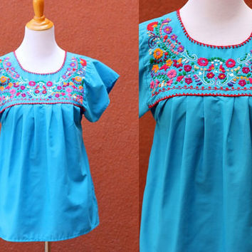 Vtg 70's Mexican Peasant Blouse Floral Embroidered blue Red pink orange Flowy Shirt Oaxacan Medium multicolor