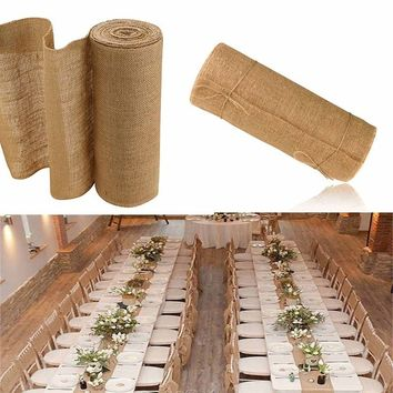 10M x 30CM Burlap Hessian Roll Vintage Jute Table Runner Wedding Christmas Holiday Party Birthday Baby Show Garland Banquet Home