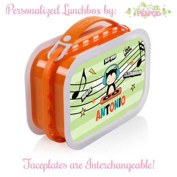 DJ Kitty Lunchbox - Personalized Lunchbox with Interchangeable Faceplates - Double-Sided DJ Cool Kitty Lunchbox