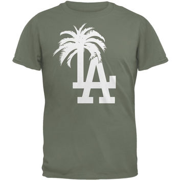 LA Los Angeles Logo Palm Tree Military Green Adult T-Shirt