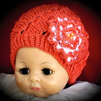 Cutie Knitted Baby Girl Hat Decorated with a Flower for Little a Lady