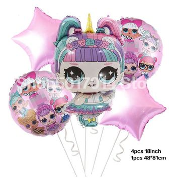 5pcs large surprise doll Shape balloons 18inch star dolls For Baby Shower girl Decorations LOL balloon decor globos