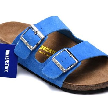 Men's and Women's BIRKENSTOCK sandals Arizona Soft Footbed Suede Leather 632632288-085