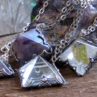 Crystal Quartz Pyramid Pendant Necklace