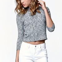 LA Hearts Mock Neck Cropped Sweater - Womens Sweater