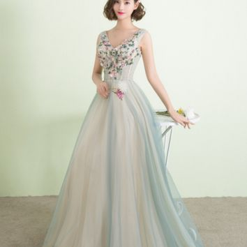 New banquet dress long paragraph flowers were thin bridesmaid vest type evening dress host female dress