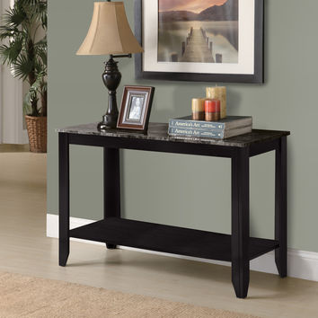 Black/Grey Marble-Look Top Sofa Console Table