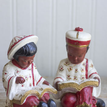 Vintage Asian Chalkware Figurines - Boy and Girl - Red Gold Decor