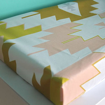 blush kilim fitted changing pad cover