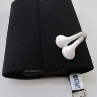 Nerd Herder gadget wallet in Just Black for iPhone, Android, iPod, digital camera, earbuds, SD cards, USB, guitar picks, IDs