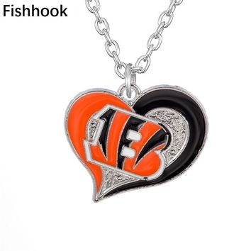 Fishhook Fans Men Women Necklace Swirl Heart Shape Enamel Charms Cincinnati Bengals Pendant Long Link Chain Jewelry Necklaces