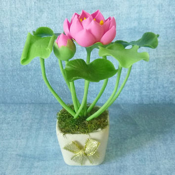 Lotus pot artificial clay flower 4 inch/Dollhouse miniture /Flower pot/ Miniature clay flower pots/ Miniature flower /Dollhouse plants