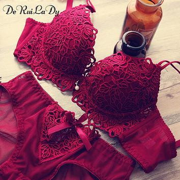 DeRuiLaDy Underwear Underwear Vs Women Bra Set Luxury Lingerie Suit Women Intimates Embroidery Push Up Lace Bra Panty Set