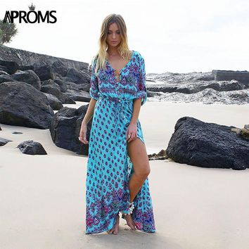 Summer Long Maxi Dress Women Sexy V Neck Sundress Floral Print Half Sleeve Loose Beach Dresses