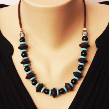Turquoise with Sono Wood and Black Onyx on Leather Cord Necklace