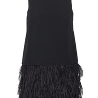 Cera Tuxedo Feather Trim Dress