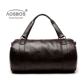 Aosbos New PU Leather Gym Bag Training Sports Bag for Women Men Fitness Bags Durable Outdoor Shoulder Traveling Duffel Handbags