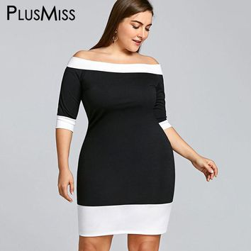Plus Size Sexy Off Shoulder Bodycon Mini Dress
