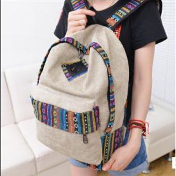 Vintage School Backpack Women Schoolbags for Teenager Girls Canvas Backpacks Student Book Bag National mochila bolsas de saco