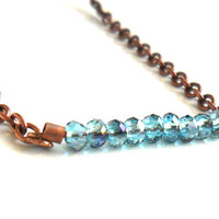 Delicate bar necklace Tiny blue faceted crystal  bar , Copper chain  jewelry for everyday, boho, minimalist