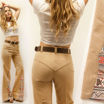 Rare 70s Khaki High Waisted Bell Bottom from Classic Rock Couture