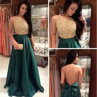 Open Back Green Gold Applique Prom Dresses