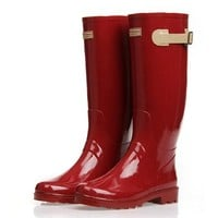ZLYC Women Girls Knee High Rain Boots Galoshes