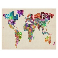 Typography World Map II Unframed Wall Canvas