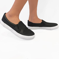 """ See You Later Boy "" Black Slip On Sneakers"