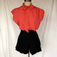 Vintage Red & White Striped Bow Blouse by Judy Bond / sz 14 Large/ XL