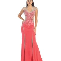 Coral Sheer Illusion Embellished Dress 2015 Prom Dresses